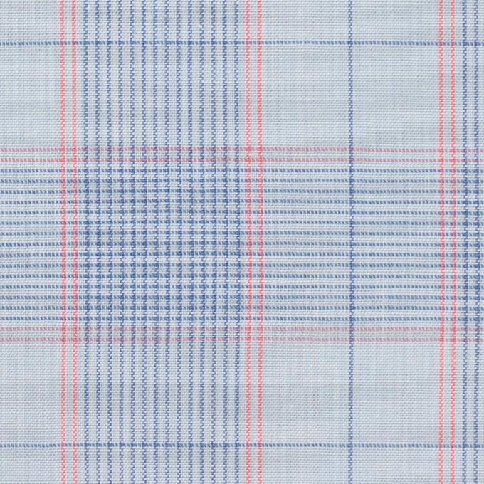 コットン×チェック(サックス、ブルー&チェリー)×シーチング イメージ1