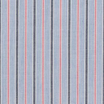 コットン×ストライプ(ブルー、チャコール&チェリー)×ブロード