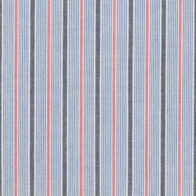 コットン×ストライプ(ブルー、チャコール&チェリー)×ブロード イメージ1