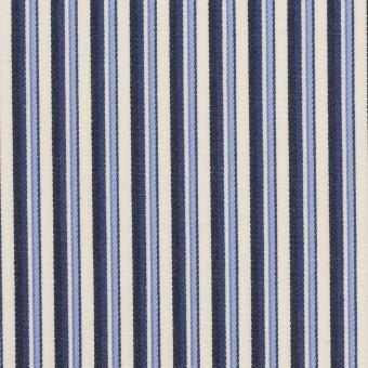 コットン×ストライプ(ヒヤシンスブルー&ネイビー)×ブロードジャガード