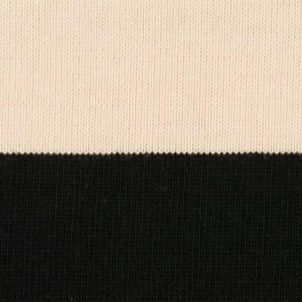 コットン×ボーダー(ブラック&エクリュ)×天竺ニット サムネイル1