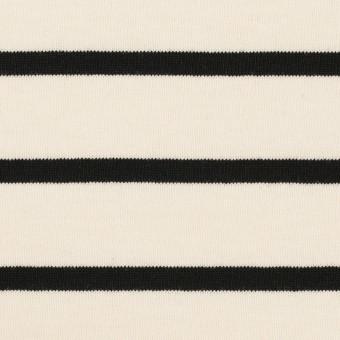 コットン×ボーダー(クリーム&ブラック)×天竺ニット_全3色