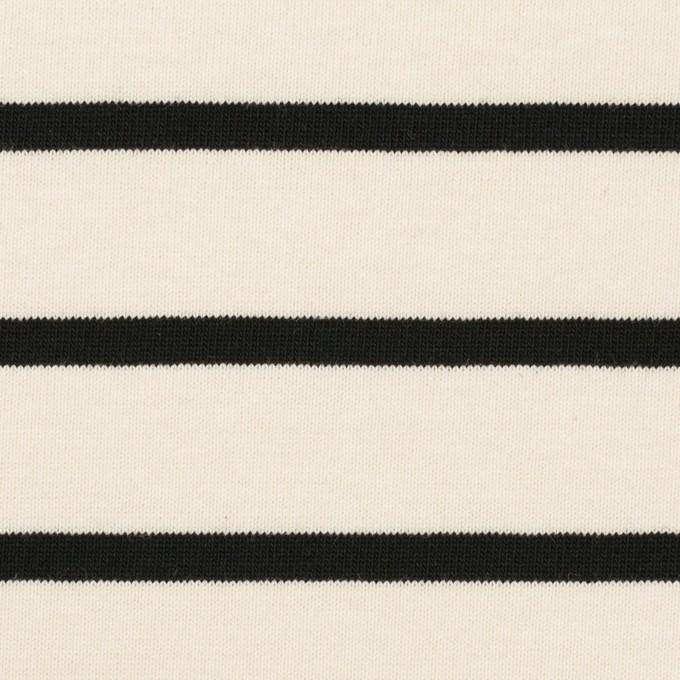 コットン×ボーダー(クリーム&ブラック)×天竺ニット_全3色 イメージ1