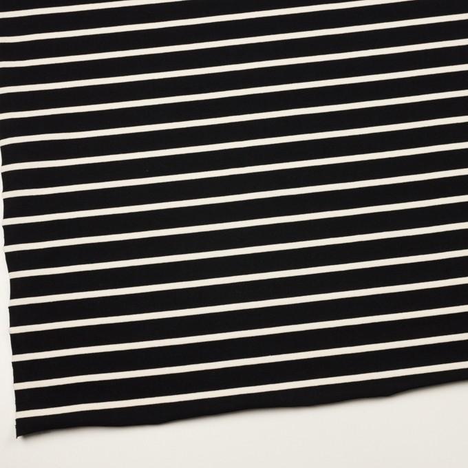 コットン×ボーダー(ブラック&クリーム)×天竺ニット_全3色 イメージ2