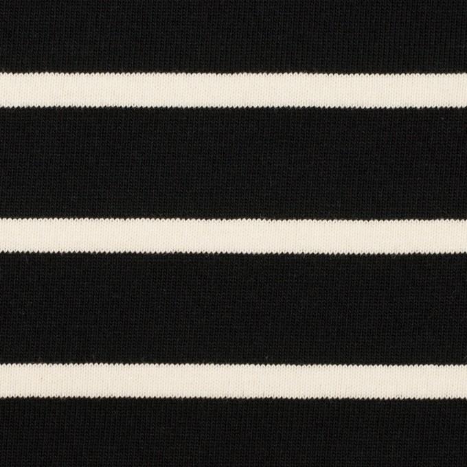 コットン×ボーダー(ブラック&クリーム)×天竺ニット_全3色 イメージ1