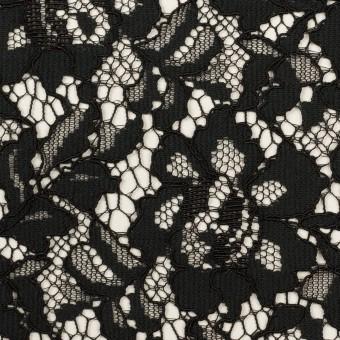レーヨン&ナイロン混×フラワー(ブラック)×ラッセルレース サムネイル1