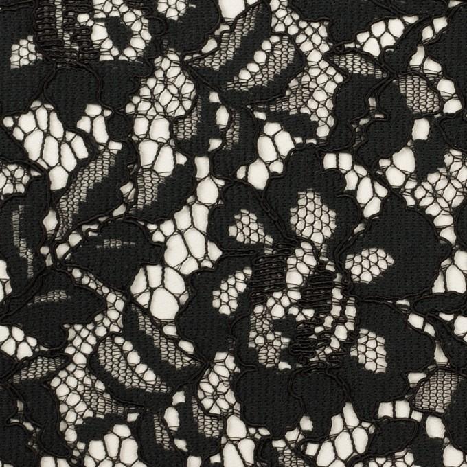 レーヨン&ナイロン混×フラワー(ブラック)×ラッセルレース イメージ1