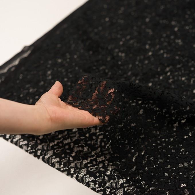 レーヨン&ナイロン混×フラワー(ブラック)×ラッセルレース イメージ5