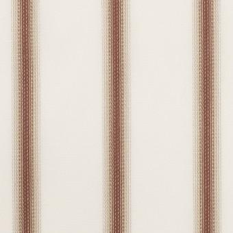 コットン×ストライプ(レンガ&カーキベージュ)×ブロードジャガード