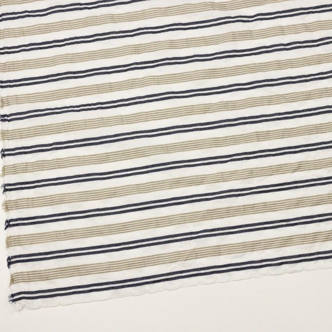 コットン&ポリウレタン×ボーダー(カーキ&ダークネイビー)×ボイルジャガード・シャーリング イメージ2
