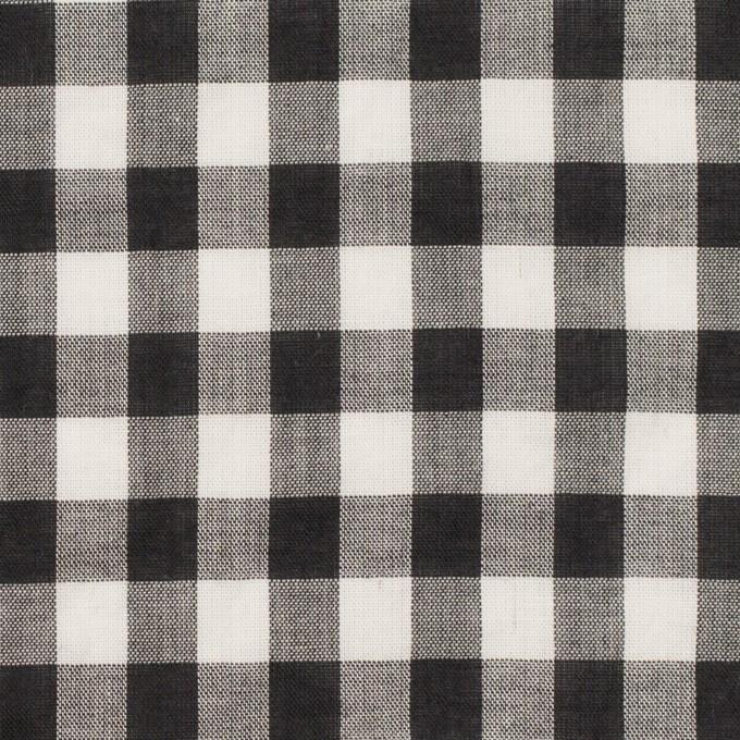 コットン×チェック(ブラック&アイボリー)×ボイルワッシャー イメージ1