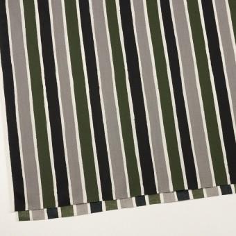 コットン&リヨセル×ストライプ(グレー、ブラック&カーキグリーン)×ブロード_全2色 サムネイル2