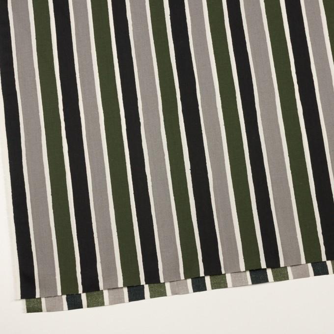 コットン&リヨセル×ストライプ(グレー、ブラック&カーキグリーン)×ブロード_全2色 イメージ2