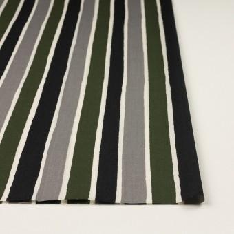 コットン&リヨセル×ストライプ(グレー、ブラック&カーキグリーン)×ブロード_全2色 サムネイル3
