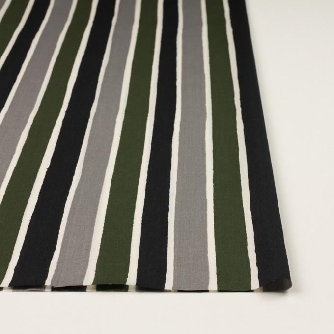 コットン&リヨセル×ストライプ(グレー、ブラック&カーキグリーン)×ブロード_全2色 イメージ3
