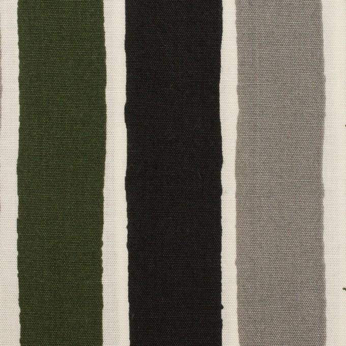 コットン&リヨセル×ストライプ(グレー、ブラック&カーキグリーン)×ブロード_全2色 イメージ1