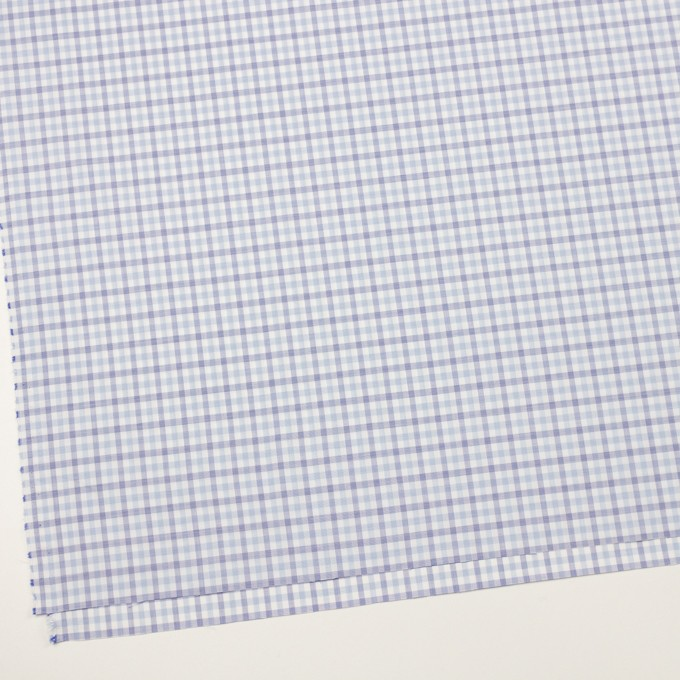 コットン&ポリウレタン×チェック(サックス&ブルー)×ブロードストレッチ イメージ2