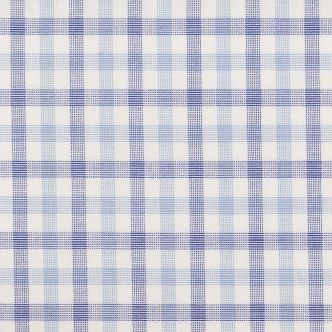 コットン&ポリウレタン×チェック(サックス&ブルー)×ブロードストレッチ イメージ1