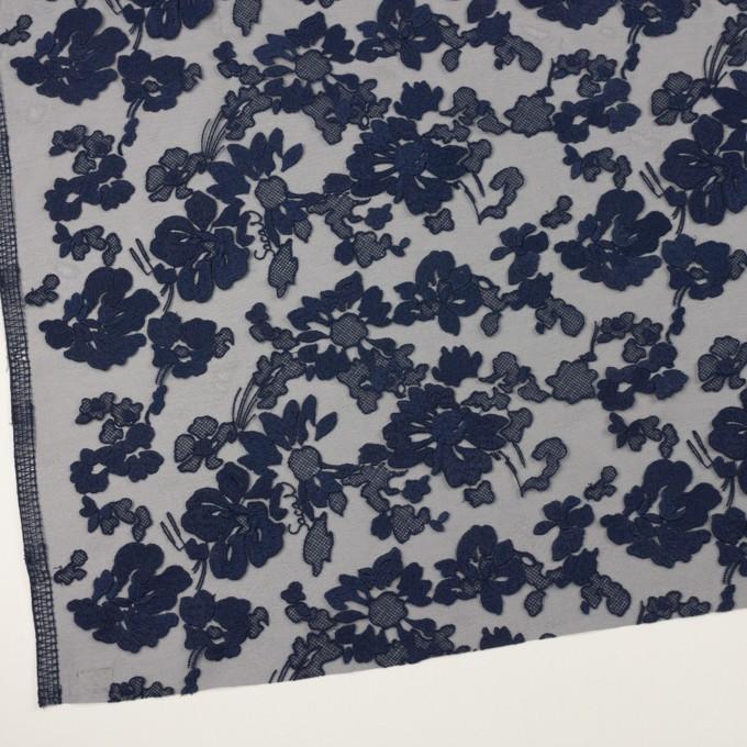 ポリエステル×フラワー(ネイビー)×オーガンジー刺繍 イメージ2