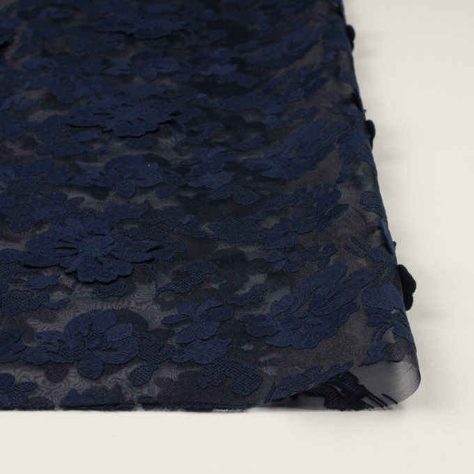 ポリエステル×フラワー(ネイビー)×オーガンジー刺繍 イメージ3