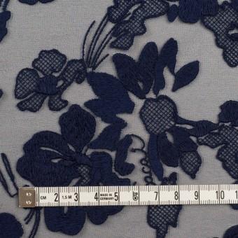 ポリエステル×フラワー(ネイビー)×オーガンジー刺繍 サムネイル4
