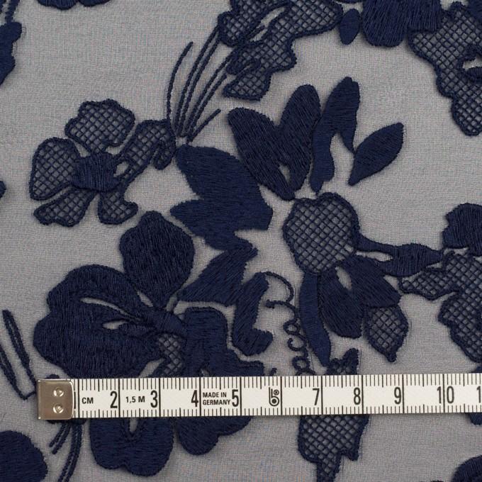 ポリエステル×フラワー(ネイビー)×オーガンジー刺繍 イメージ4