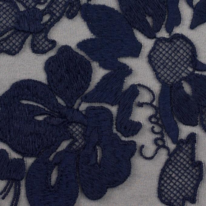 ポリエステル×フラワー(ネイビー)×オーガンジー刺繍 イメージ1
