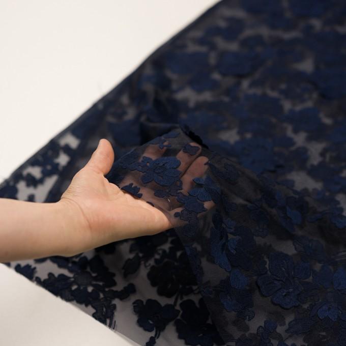 ポリエステル×フラワー(ネイビー)×オーガンジー刺繍 イメージ5
