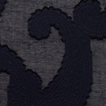 コットン×ペイズリー(ダークネイビー)×ボイルカット・ジャガード