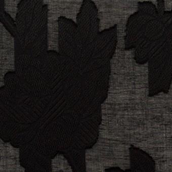 コットン×フラワー(ブラック)×ボイルカット・ジャガード
