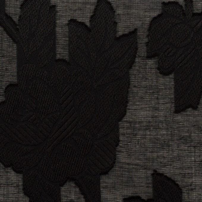 コットン×フラワー(ブラック)×ボイルカット・ジャガード イメージ1