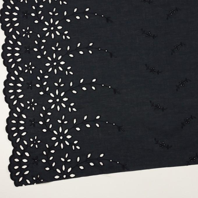 コットン×フラワー(ダークネイビー)×ローン刺繍 イメージ2
