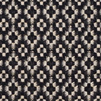 コットン&ポリエステル×幾何学模様(ブラック&エクリュ)×ジャガード サムネイル1
