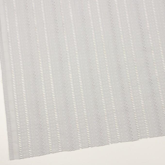 コットン×ストライプ(ストーングレー)×ローン刺繍 イメージ2