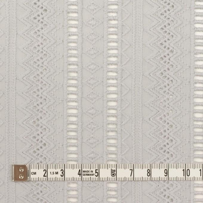 コットン×ストライプ(ストーングレー)×ローン刺繍 イメージ4