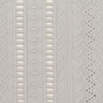コットン×ストライプ(ストーングレー)×ローン刺繍 サムネイル1