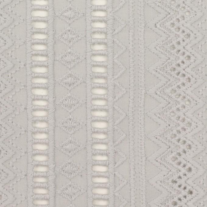 コットン×ストライプ(ストーングレー)×ローン刺繍 イメージ1