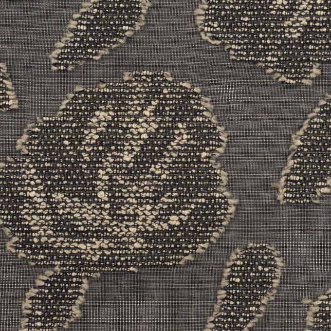 ポリエステル×フラワー(ブラック&ベージュ)×ジョーゼット・カットジャガード イメージ1