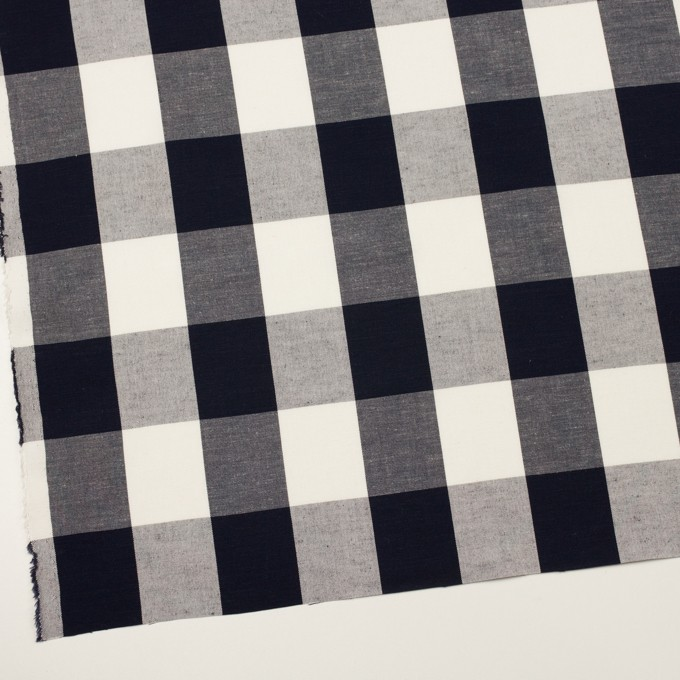 コットン&レーヨン×チェック(ダークネイビー&アイボリー)×キャンバス イメージ2