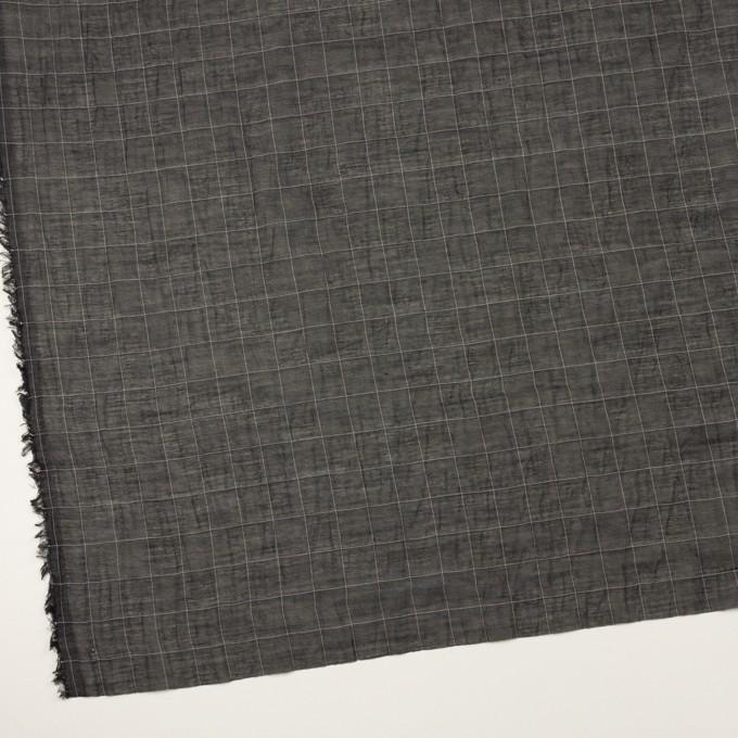 コットン&シルク混×チェック(ブラック)×オーガンジー・ワッシャー イメージ2