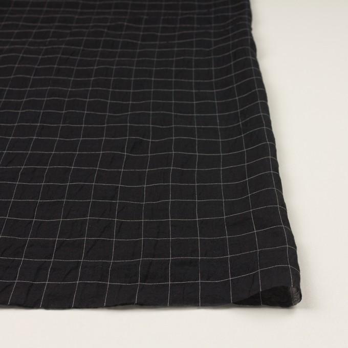 コットン&シルク混×チェック(ブラック)×オーガンジー・ワッシャー イメージ3