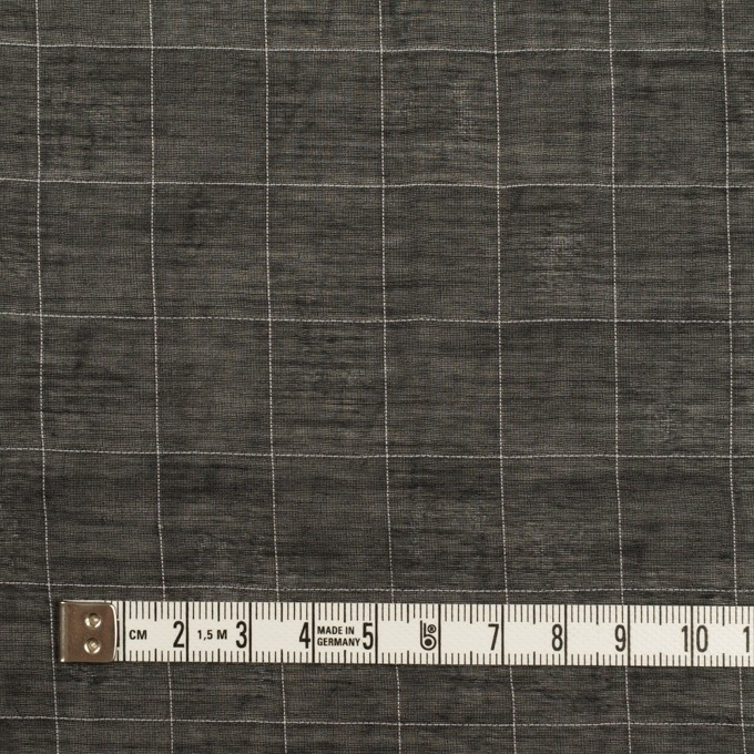 コットン&シルク混×チェック(ブラック)×オーガンジー・ワッシャー イメージ4