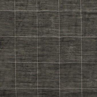 コットン&シルク混×チェック(ブラック)×オーガンジー・ワッシャー