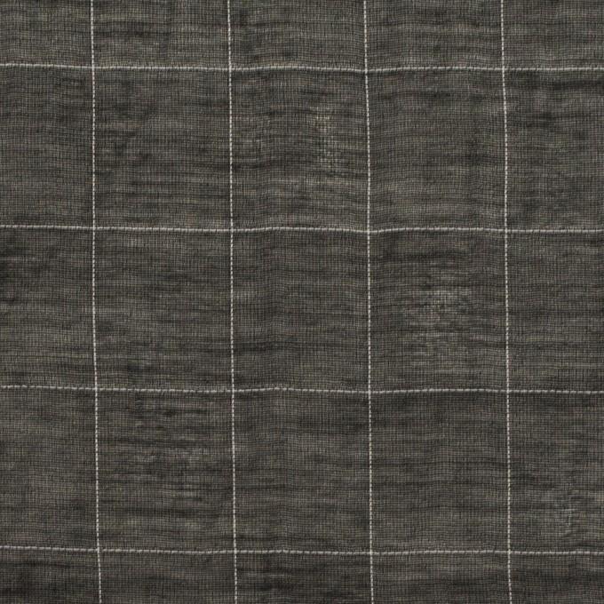 コットン&シルク混×チェック(ブラック)×オーガンジー・ワッシャー イメージ1