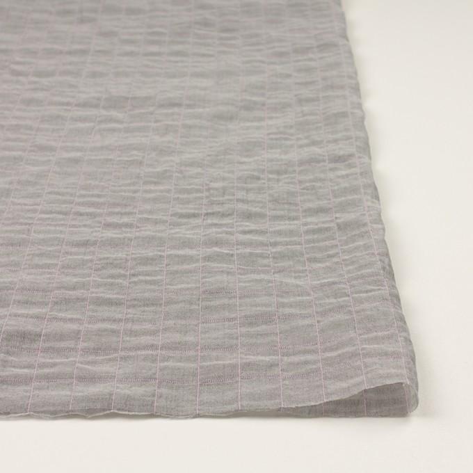 コットン&シルク混×チェック(グレー&ピンク)×シャンブレー・オーガンジーワッシャー イメージ3