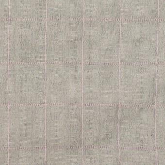 コットン&シルク混×チェック(グレー&ピンク)×シャンブレー・オーガンジーワッシャー サムネイル1