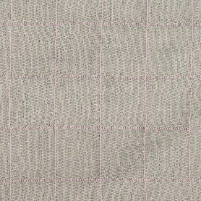コットン&シルク混×チェック(グレー&ピンク)×シャンブレー・オーガンジーワッシャー イメージ1