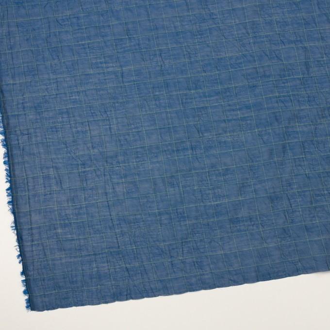 コットン&シルク混×チェック(インクブルー&ライム)×シャンブレー・オーガンジーワッシャー イメージ2