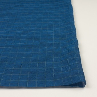 コットン&シルク混×チェック(インクブルー&ライム)×シャンブレー・オーガンジーワッシャー サムネイル3