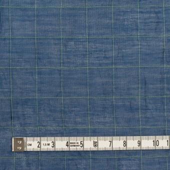 コットン&シルク混×チェック(インクブルー&ライム)×シャンブレー・オーガンジーワッシャー サムネイル4